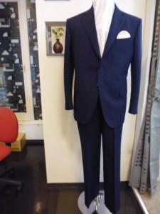 青紺ジャガードストライプ柄2釦スーツ