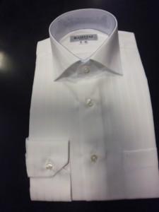 白地織りストライプシャツ