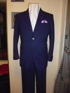 ネイビー  ブルーストライプ柄スーツ